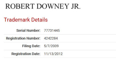 Robert Downey Jr. Trademark