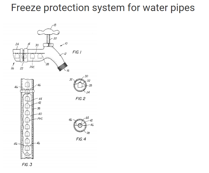 freeze protection pipes patent