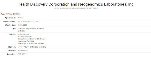 health discovery corp and neogenomics lab