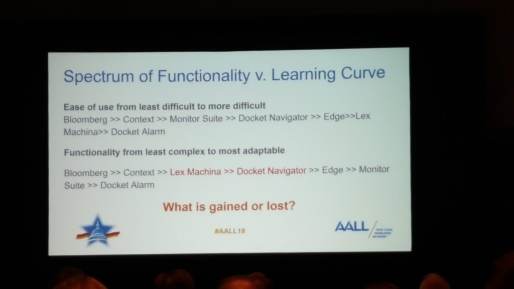Slide from the Spectrum of Functionality v. Learning Curve session at the AALL 2019 Annual Meeting