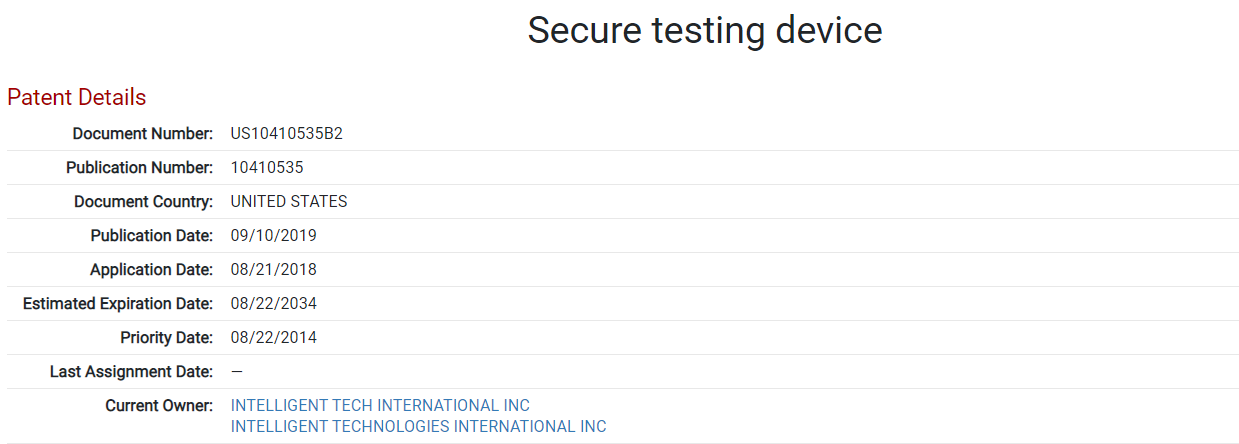 secure test taking patent